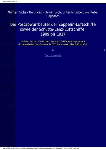 Die Postabwurfbeutel der Zeppelin-Luftschiffe sowie der Schütte ...