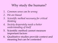 Why study the humans? - Webpages at SCU
