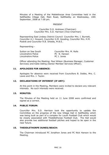 Minutes of a Meeting of the Mablethorpe Area Committee held in the ...