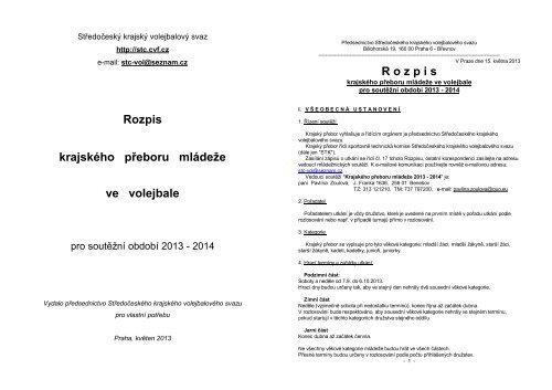 Rozpis krajského přeboru mládeže ve volejbale R o z p i s