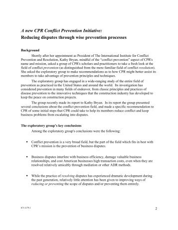 CPR's Preventive Law Committee Background - CPR Institute for ...