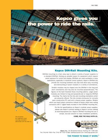 DIN Rail Mountable Products Brochure P/N 146-1960 - Kepco, Inc.
