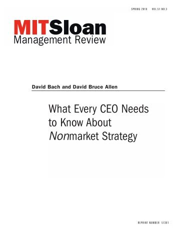 What Every CEO Needs to Know About Nonmarket Strategy