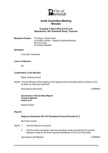 Committee Meeting Minutes  City Of Burnside