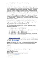 Subject: Invitation to Participate in Enterprise Directory Focus Group ...