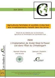 « Agricultures familiales et sociétés civiles face aux ... - aGter