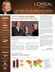 LETTER TO SHAREHOLDERS - L'Oréal Finance