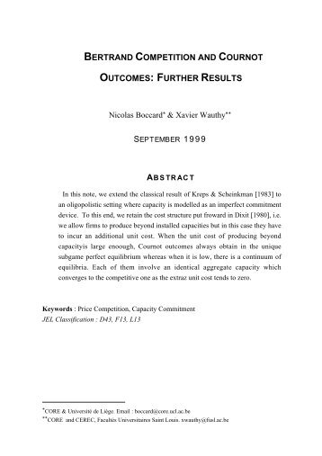 bertrand competition and cournot outcomes: further ... - ResearchGate