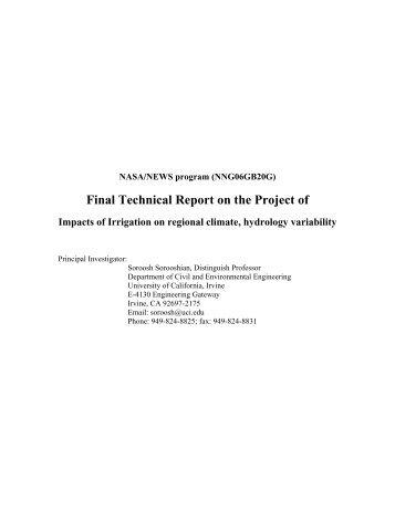 Sorooshian - NEWS (The NASA Energy and Water cycle Study)