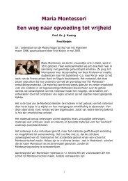 Maria Montessori Een weg naar opvoeding tot vrijheid - kelpin.nl