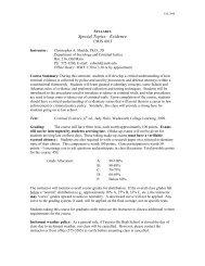 Special Topics: Evidence - Department of Sociology and Criminal ...