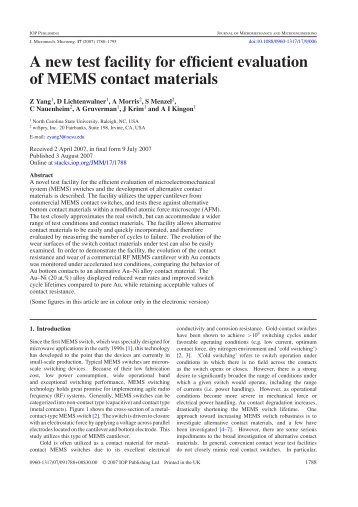 A new test facility for efficient evaluation of MEMS contact materials