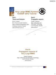 Very Large MIMO Systems ICASSP 2012 Tutorial - Communication ...