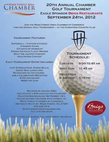 20th Annual Chamber Golf Tournament September 24th, 2012