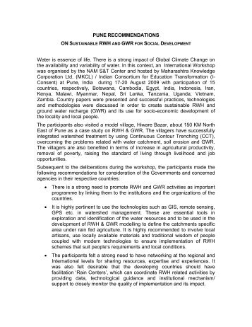 Pune Recommendations - Lanka Rain Water Harvesting Forum