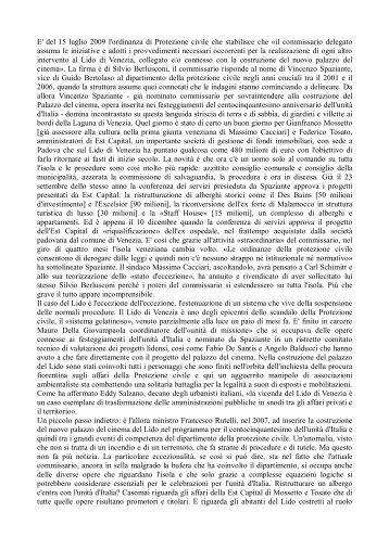 E' del 15 luglio 2009 l'ordinanza di Protezione civile ... - un altro Lido
