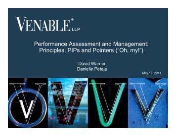 Performance Assessment and Management ... - Venable LLP