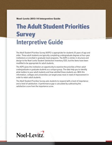 What Adults Want: Defining the Top 10 Priorities for Adult Students