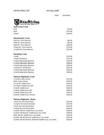 Scope price list.xlsx - Melbourne Firearms Centre