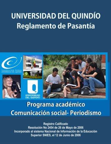 Reglamento de Pasantía. - Universidad del Quindio - Universidad ...