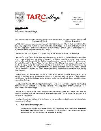 (DECLARATION) Registrar Tunku Abdul Rahman College I ...