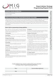 Expert Advisor Strategy Programming Request Form - MIG Bank