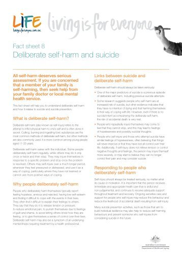 Fact sheet 8: Deliberate self-harm and suicide - Living is for Everyone