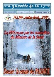 La Gazette de la FPS / 4ème trimestre 2007 / N° 41 Page 1