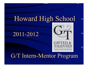 G/T Intern Mentor Program - Howard High
