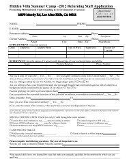 Hidden Villa Summer Camp-2000 Staff Application