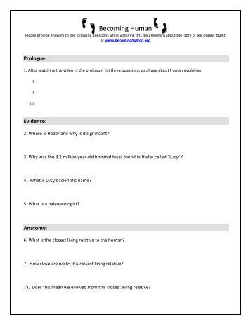 Becoming Human Worksheet