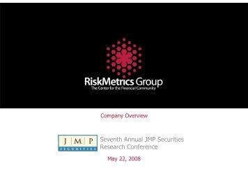 RiskMetrics JMP Overview - Rational Investing