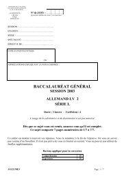 BACCALAURÉAT GÉNÉRAL SESSION 2003 ALLEMAND LV 2 - Kiosk