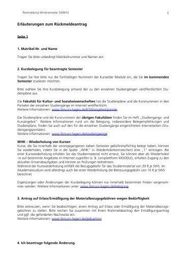 Zulassungsantrag Sommersemester 2009 - FernUniversität in Hagen