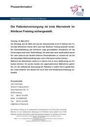 Die Patientenversorgung ist trotz Warnstreik im Klinikum Freising ...