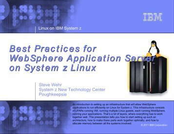 Best Practices for WebSphere Application Server on ... - z/VM - IBM
