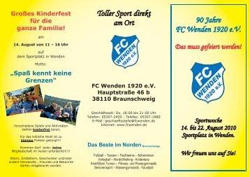 Toller Sport direkt am Ort 90 Jahre FC Wenden 1920 e.V.