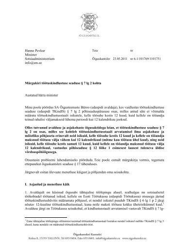 6iguskantsleri margukiri tootuskindlustustaazi ... - Õiguskantsler