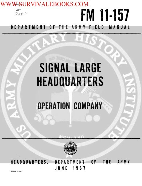 1967 US Army Vietnam War Signal Large     - Survival Books