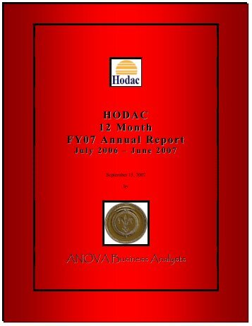 HODAC 12 Month FY07 Annual Report - Department of Behavioral ...