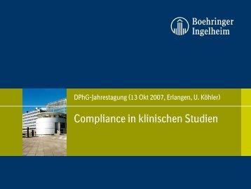 Compliance in klinischen Studien - Fachgruppe Klinische Pharmazie
