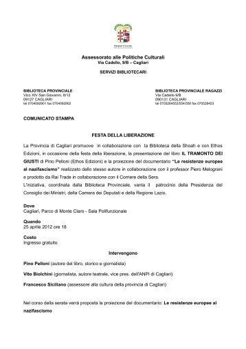 Comunicato stampa [file .pdf] - Biblioteca Provinciale di Cagliari