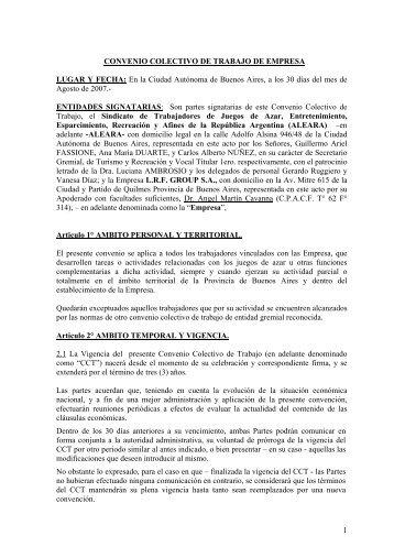 1 CONVENIO COLECTIVO DE TRABAJO DE EMPRESA ... - ALEARA