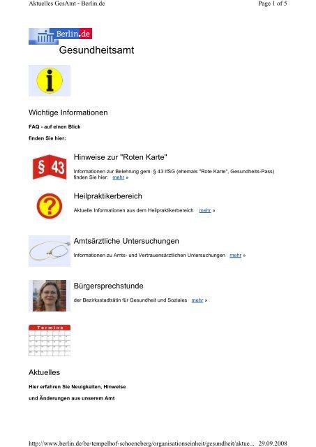 Rote Karte Gesundheitsamt Berlin.Gesundheitsamt Rheuma Tage Berlin