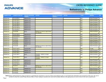 CROSS REFERENCE GUIDE Ballastronix to ... - Philips Lighting  sc 1 st  Yumpu & CROSS REFERENCE GUIDE Venture to Philips ... - Philips Lighting azcodes.com