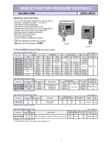 SINGLE FUNCTION PRESSURE CONTROLS - Ecotherm