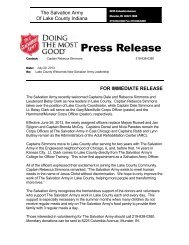 Lake County Welcomes New Salvation Army Leadership
