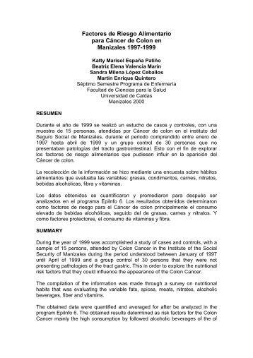 Factores de Riesgo Alimentario para Cáncer de Colon en Manizales ...