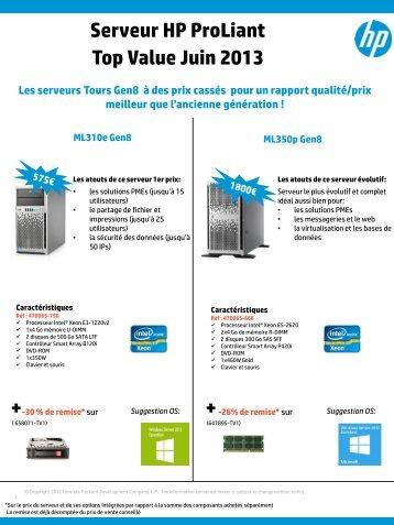 Serveur HP ProLiant Top Value Juin 2013 - Hewlett-Packard France ...
