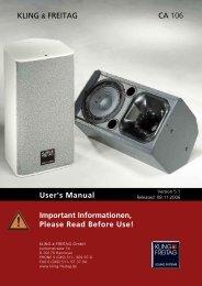 User's Manual Important Informationen, Please ... - Kling und Freitag